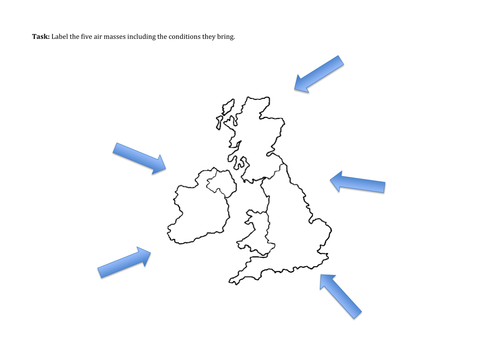 UK Weather and Air Masses AQA A Level by mrgeography333 – Air Masses Worksheet