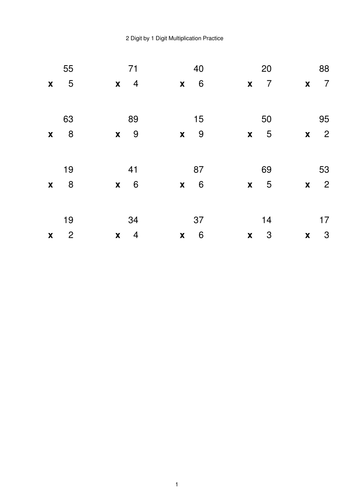 Multiplication Generator - 2 digit by 1 digit - Singapore Math
