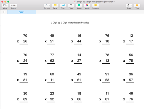 Multiplication Worksheets Multiplication Worksheets One Digit By – Two Digit by One Digit Multiplication Worksheet