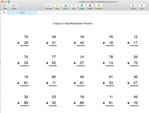 Multiplication Generator - 2 digit by 2 digit - Singapore Math