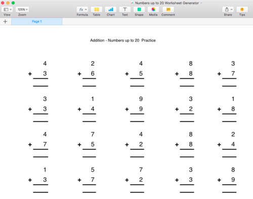 Addition Numbers up to 20 Worksheet Generator - Singapore Math by ...
