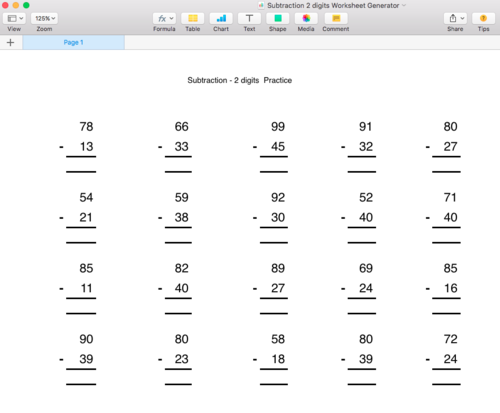 Subtraction below 100 Worksheet Generator - Singapore Math