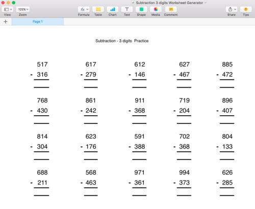 Subtraction - Numbers below 1000 - Worksheet Generator - Singapore Math