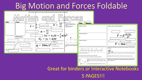 Big Motion and Forces Review Foldable for Interactive Notebooks or Binder