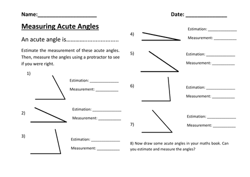 Estimating And Measuring Acute Angles By Rachdf Teaching