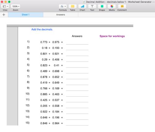 Decimal (less than 1)  Addition Worksheet Generator - Singapore Math