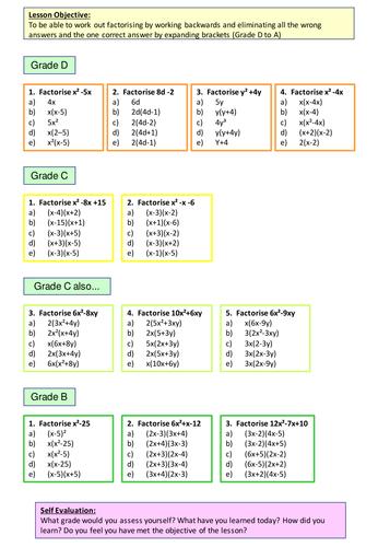 All Worksheets » Factorisation Worksheets Grade 8 - Free Printable ...