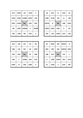 Roman numerals (1-100) bingo