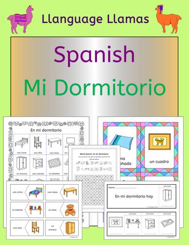 Spanish Bedroom Vocabulary Mi Dormitorio By Llanguagellamas