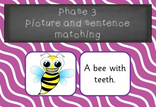 Phonics Phase 3 Picture Sentence matching