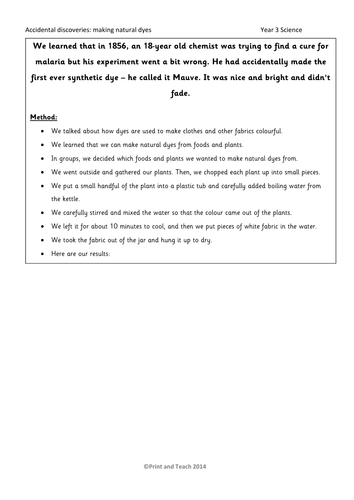 KS2 - Living Things - evidence sheet - Science - Natural plant dyes