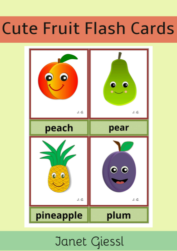 Cute Fruit Flash Cards - Printable
