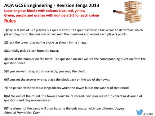 AQA GCSE Engineering Jenga game
