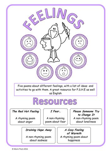 Feelings Poems 5 Poems Activities Y56 By Rhymerockrole