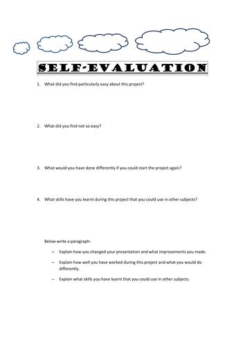 Self Evaluation Worksheet