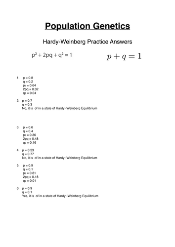 Hardy Weinberg Practice Questions For Gce Population