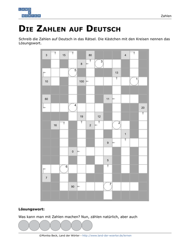 German Numbers 1-100