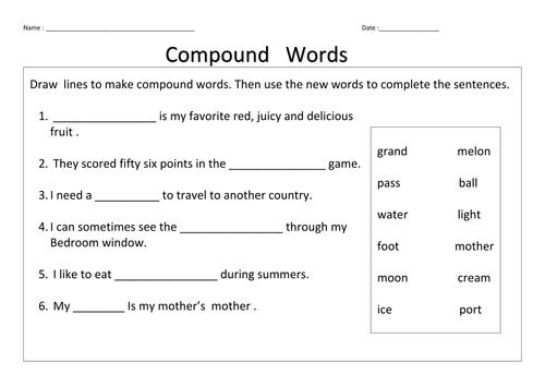 compound words worksheet grade 3 pdf