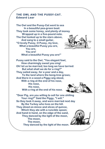The Owl and the Pussycat - Printable Poem