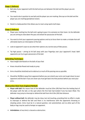 KS3 - Netball lesson plan - stage 2 defending