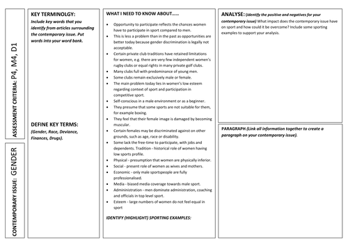 Level 3 BTEC Sport - Unit 12 - Current Issues - Effects of 4 Contemporary Issues  - Research Pads