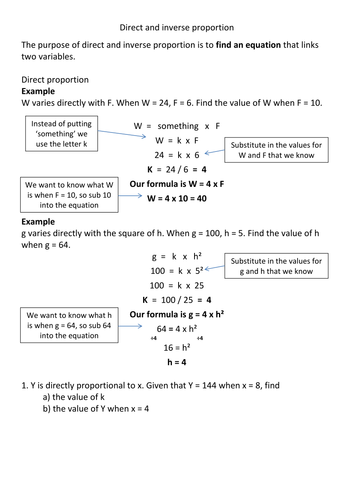 Direct and inverse proportion revision by Frazzled22 - Teaching ...