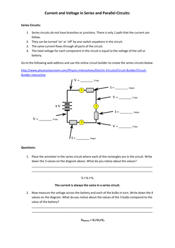 Circuit Builder Worksheet Answer Key - Kidz Activities