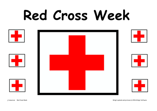 Red Cross Week Poster and Information Text and Symbol Supported