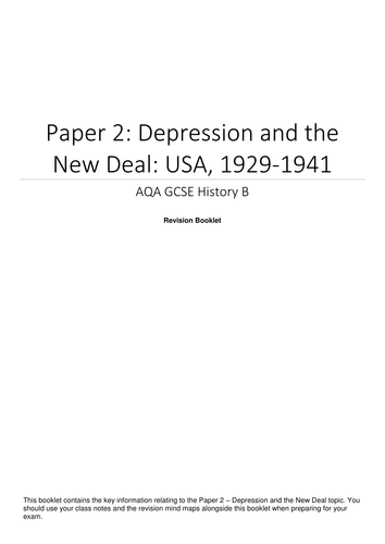 AQA GCSE History - Paper 2 - Depression and the New Deal - Revision Booklet