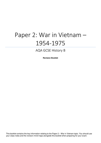 AQA GCSE History - Paper 2 - War in Vietnam - Revision Booklet