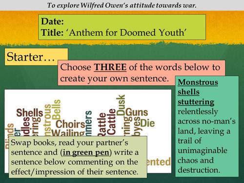 Ks4 Anthem For Doomed Youth Wilfred Owen