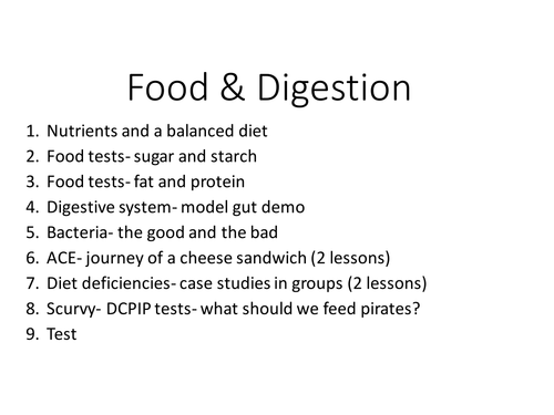 Year 7 food and digestion complete lessons