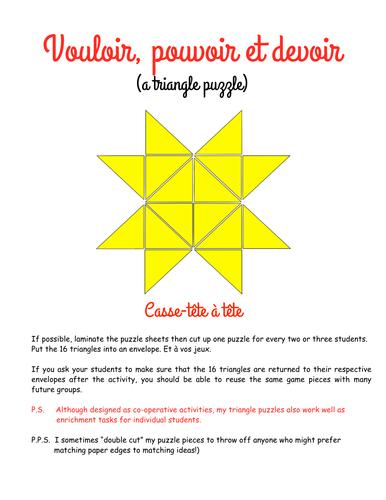 Triangle puzzle: Vouloir, Pouvoir et Devoir