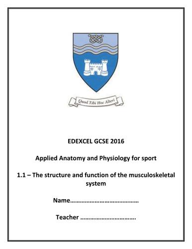 Sample Booklet - Muscloskeletal System Booklet - New Spec 2016