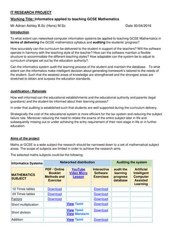 IT PROJECT  Informatics applied to teaching GCSE Mathematics
