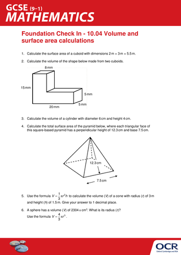 Ocr Maths Foundation Gcse Check In Test 10 04 Volume And Surface Area Calculations Teaching Resources