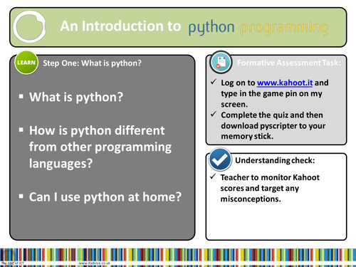 Python Programming Lesson 1 (Year 7 or younger)