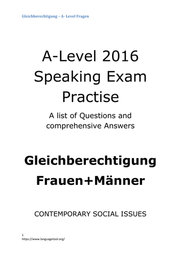 A2 German Speaking Test Questions and Answers - Gleichberechtigung (equal rights)
