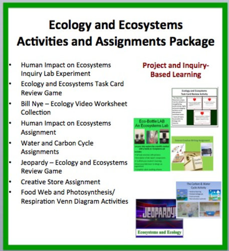 Ecology and Ecosystems Activities and Assessments Package by ...