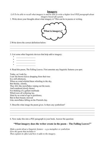 KS3/4 Imagery Worksheet (includes poem + PEE paragraphing ...
