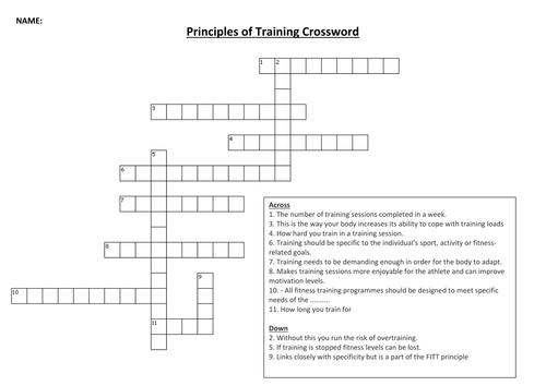 Principles of Training Crossword Activity
