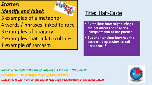 English Poetry Lesson Half Caste By Ndouglas06 Teaching Resources
