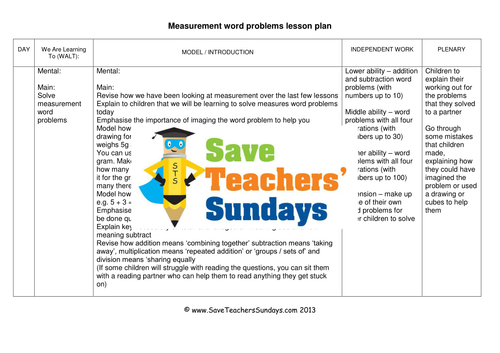 measurement word problems ks1 worksheets and lesson plans by