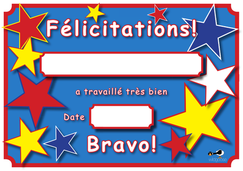 French Reward Certificate