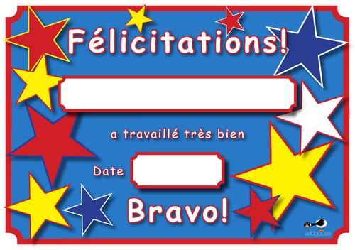 French Reward Certificate
