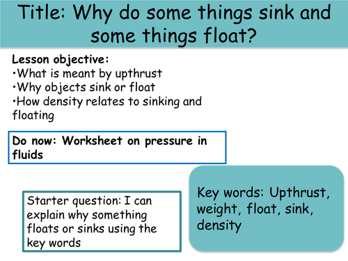 Floating sinking and density by MeganH1993 Teaching Resources Tes – Sink and Float Worksheet