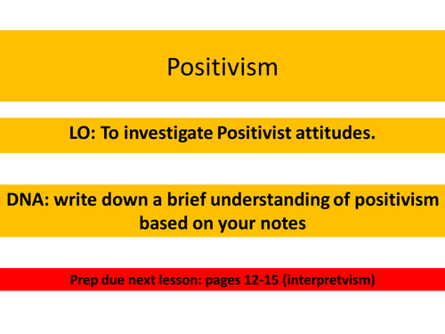 OCR Sociology Research Methods Positivism