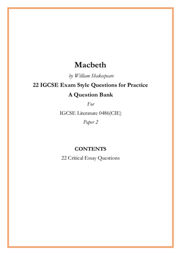 Macbeth  by William Shakespeare 22 IGCSE Exam Style Critical Essay Questions for Practice