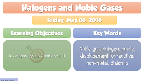 NEW GCSE Chemistry 2016 Halogens and Noble Gases,  FULL Lesson