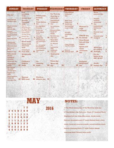 Awareness days calendar summer bundle May June July August